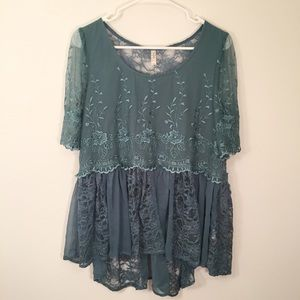 FREE PEOPLE Teal Blue Lace Flowy Sheer Mesh Blouse